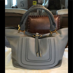 Gorgeous Chloe Marcie New Tote -Gray/Gold